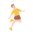 excited man character dancing on roller skates vector image vector image