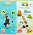 exercise equipment banners vector image vector image