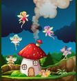 fairy at mushroon house vector image vector image
