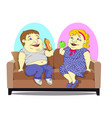 fat people on the couch vector image vector image