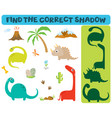 find correct shadow adorable dinosaurs vector image vector image