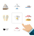 flat icon beach set of aircraft spectacles vector image vector image