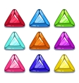 Funny cartoon colorful triangle shape gems vector image vector image