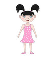 funny girl in a pink dress vector image vector image