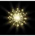 Golden glitter texture splash on black background vector image vector image