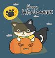 happy halloween in black mask with pumpkin vector image vector image