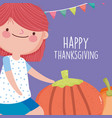 happy thanksgiving celebration cute girl with vector image vector image