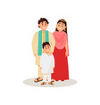 indian family in national clothes happy family vector image vector image