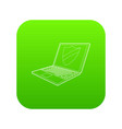 laptop with protection shield icon green vector image vector image