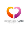 love shape colored business logo vector image vector image