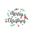 Merry Christmas brush lettering inscription with vector image vector image