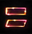 neon frame on black brick wall marquee sign vector image vector image