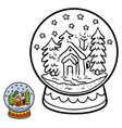 numbers game for children snowball with house vector image vector image