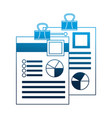 papers work with clip flowchart information vector image vector image
