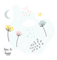 pastel collage greeting card in scandinavian style vector image