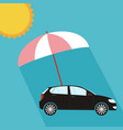 pink umbrella protecting car against sun flat vector image