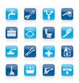 Plumbing objects and tools icons vector | Price: 1 Credit (USD $1)