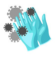 protective medical gloves with vector image