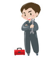 repairman with red toolbox vector image