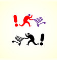 running man pushing shopping cart icon shopping vector image