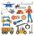 sawmill woodcutter character logging equipment vector image