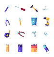 set handyman tools or instruments wrench vector image