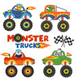 set of isolated monster trucks with animals part 1 vector image vector image