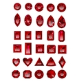 Set of realistic red rubies vector image vector image
