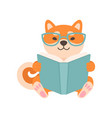 shiba inu dog in glasses reading book cute funny vector image vector image