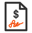 signed invoice flat icon vector image vector image