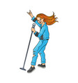 sketch rock woman singing at microphone vector image vector image