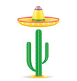 sombrero national mexican headdress and cactus vector image vector image