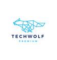 tech wolf polygonal monoline logo icon vector image vector image
