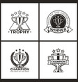 trophies for champions and winners monochrome set vector image vector image