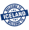 welcome to iceland blue stamp vector image vector image