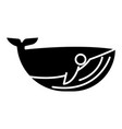 whale icon black sign on vector image vector image