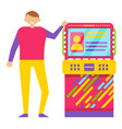 young man playing retro arcade game machine vector image