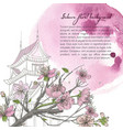 hand drawn spring background with blooming sakura vector image