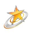 Golden star with circular orbits vector image