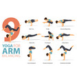 9 yoga poses for arm balance concept vector image vector image