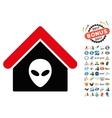 Alien Home Icon with 2017 Year Bonus Pictograms vector image vector image