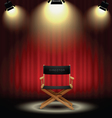 background curtain and directors chair vector image vector image