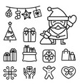 basic christmas icons in thin line style vector image vector image