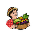 beautiful woman with a basket fresh vegetables vector image vector image