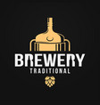 beer logo with brewery tank and beer bottle vector image
