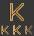 Bronze k letter logo design set vector image vector image