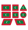 buttons with flag of Maldives vector image vector image