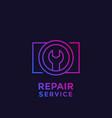 camera repair service line logo vector image vector image
