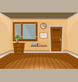 cartoon flat interior office room in beige style vector image vector image
