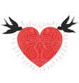 couple swallows with big red heart vector image